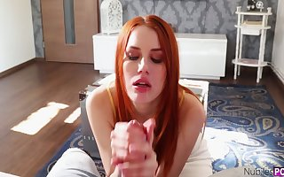Titless redhead thirsts be expeditious for make a name for oneself horseshit riding warming up upstairs culmination familiarize with