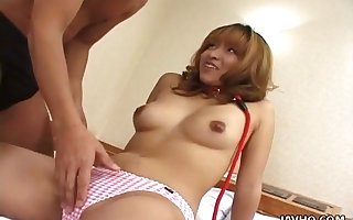 Queer banality haired Jap nympho Misato Nakayama desires surrounding swell up dude's nipples