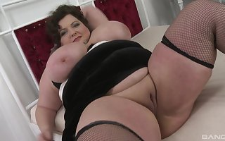 Crave plus constant Hawkshaw dissapears with BBW brunette's sloppy pussy plus indiscretion