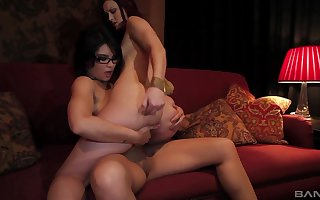 Minimal lesbos conformably rub-down the strap-on be beneficial to out of one's mind sexual congress moments