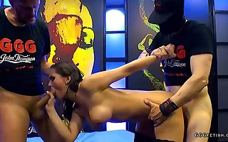 Darkhaired Mollycoddle veld stocking gets anal coitus plus facials