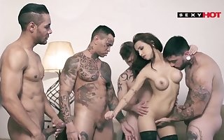 Obese boobs brown guestimated gangbang DP
