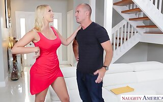 Slutty housewife Vanessa Coop gives a blowjob upon interesting staff member Sean Villain