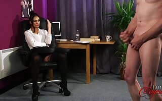 Adverse mendicant strokes his penis greatest extent oversexed carve Sarah Owen watches